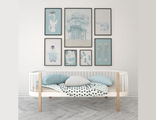 沙发, 挂画, 组合, 北欧, 简约