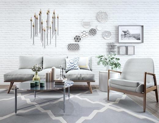 现代简约, 北欧, 沙发茶几组合, 椅子, 植物盆栽