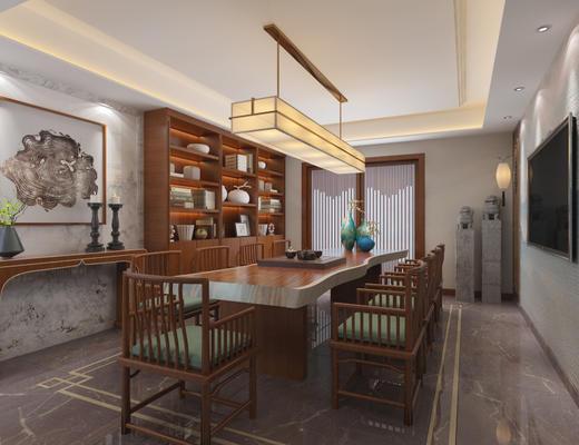 中式, 办公室, 桌椅组合, 吊灯, 置物架, 1000套空间酷赠送模型