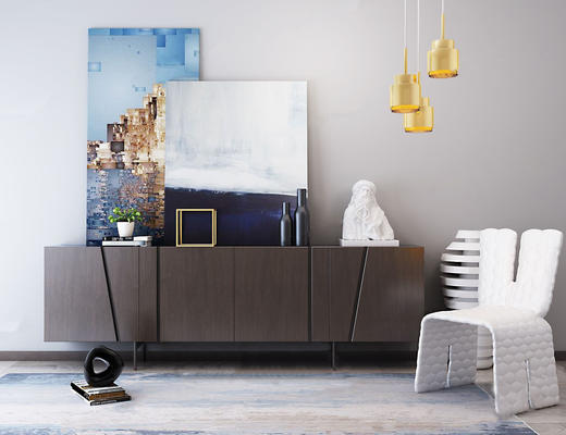 北欧简约, 边柜, 单人椅, 组合, 吊灯