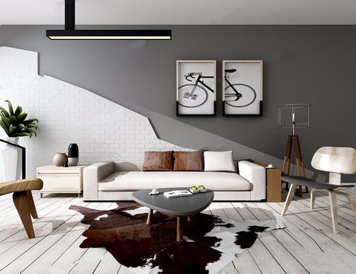 现代简约, 沙发茶几组合, 落地灯, 装饰画