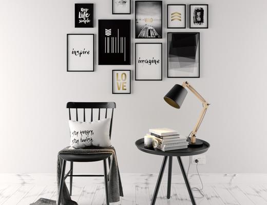 北欧简约, 桌椅组合, 椅子, 台灯, 陈设品, 北欧