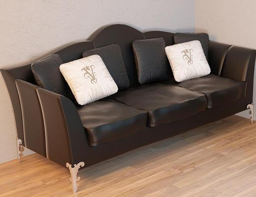 欧式, 古典, 黑色, 皮质, 沙发组合