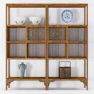 陈设品组合, 博古架, 置物柜, 中式