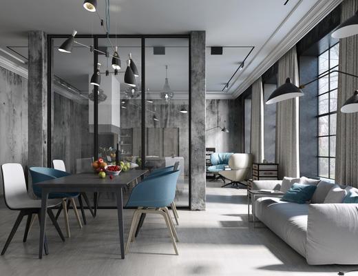 桌椅组合, 餐厅, 客厅, 工业风格, loft, 美式, 1000套空间酷赠送模型