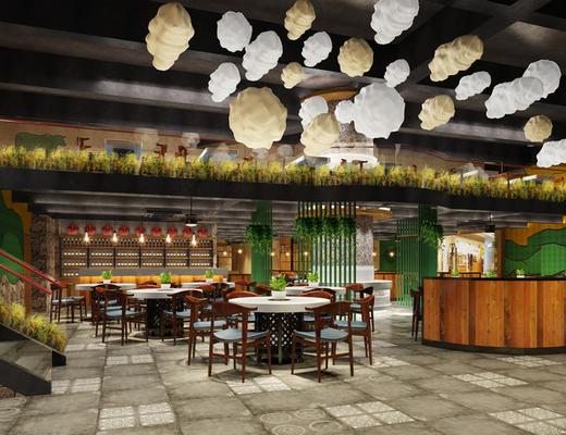陈设品组合, 餐具, 吊灯, 桌椅组合, 餐厅, 东南亚, 1000套空间酷赠送模型