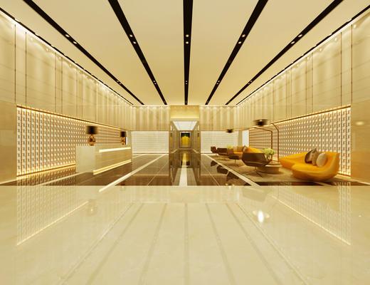 桌椅组合, 前台, 大堂, 北欧简约, 1000套空间酷赠送模型