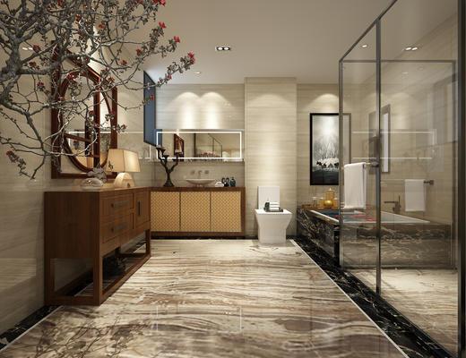 卫生间, 淋浴间, 中式