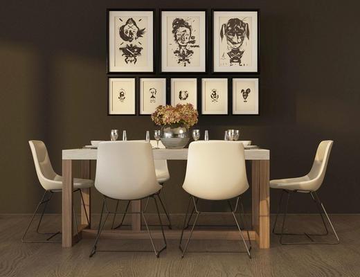 北欧, 桌椅组合, 装饰画, 吧台椅