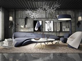 后现代, 造型沙发, 桌台