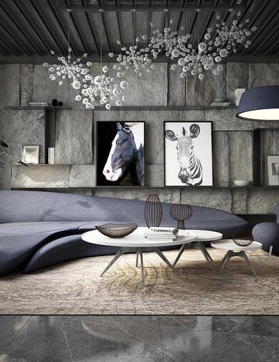 后现代, 造型沙发, 桌台, 挂画, 吊灯, 置物架