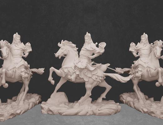 雕塑, 雕像, 关羽, 摆件, 陈设品