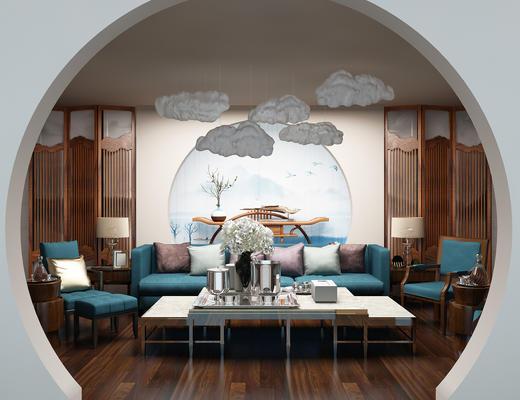 沙发茶几组合, 沙发组合, 新中式沙发, 中式沙发