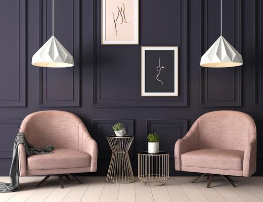 沙发椅, 现代简约, 休闲沙发, 茶几