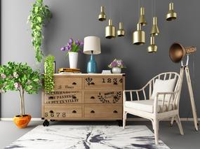 单人椅, 边柜, 陈设品组合, 吊灯, 植物