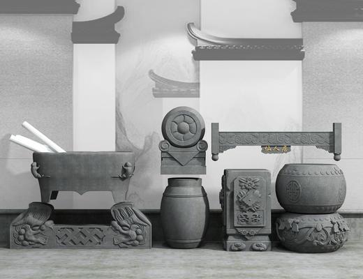 石雕, 雕塑, 中式