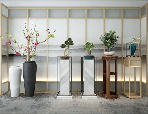 植物, 盆栽, 植物组合, 中式盆栽