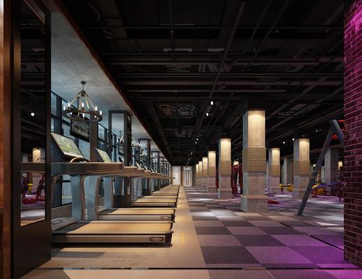 现代, 健身室, 跑步机, 摆件