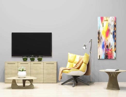 现代简约, 电视柜, 休闲椅