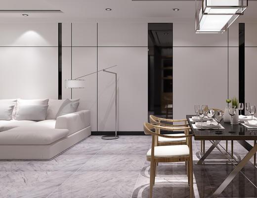 客厅, 餐厅, 现代餐厅, 桌椅组合