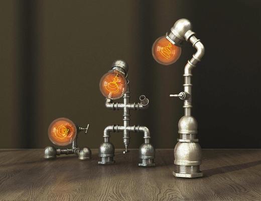 台灯, 灯泡, 工业风