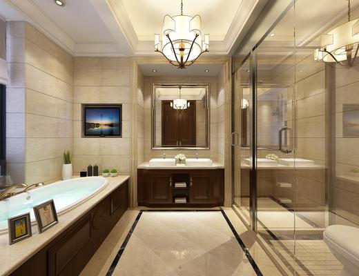 卫生间, 浴缸, 洗手台, 淋浴间