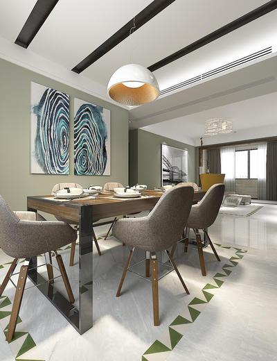 现代, 客餐厅, 走廊, 餐桌椅