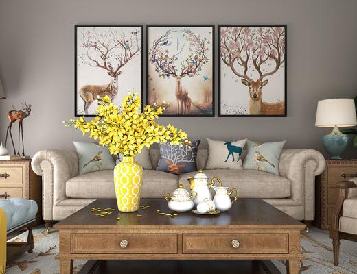 沙发茶几组合, 沙发组合, 美式沙发