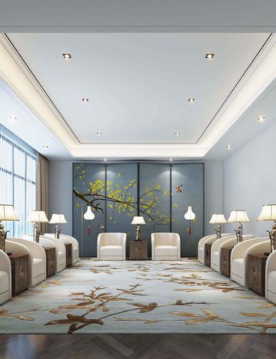 新中式, 会客室, 台灯, 椅子, 茶几