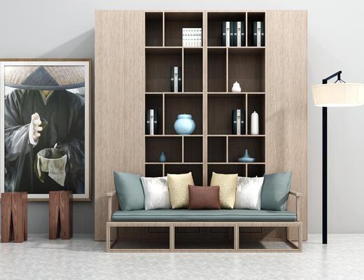 中式沙发, 多人沙发, 沙发组合, 新中式