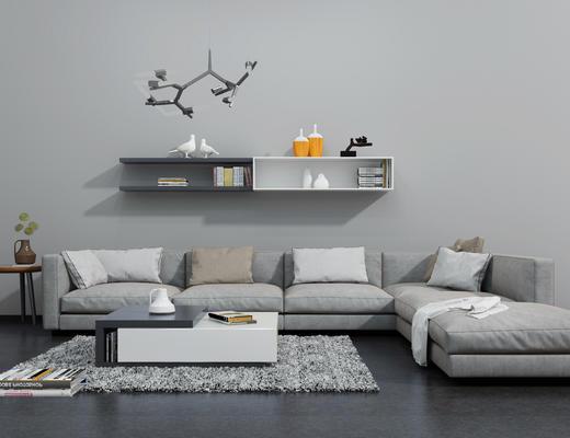 沙发茶几组合, 沙发组合, 现代简约, 现代沙发, 多人沙发
